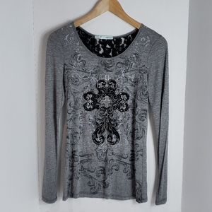 Maurices Women's Grey W/ Black Lace Accent Top, XS